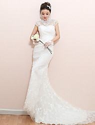 Trumpet/Mermaid Wedding Dress - White Court Train High Neck Lace