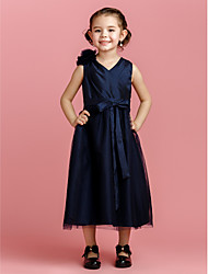 A-line Tea-length Flower Girl Dress - Taffeta Tulle V-neck with Bow(s) Flower(s) Sash / Ribbon