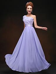 Floor-length Bridesmaid Dress - Lavender Sheath/Column One Shoulder