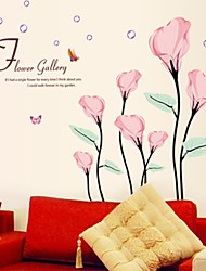 Wall Stickers Wall Decals, Romantic Pink Common Callalily PVC Wall Stickers