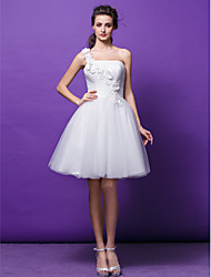 Lanting Bride Ball Gown Petite Wedding Dress-Knee-length One Shoulder Tulle