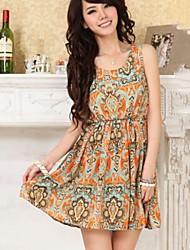 vestido extranjero de las mujeres patrón sin mangas cintura