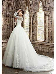 A-line Wedding Dress See-Through Court Train Bateau Satin with Appliques Beading
