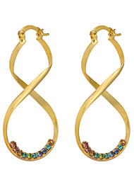 Women's Fashion 18K Gold Plating  Inlay Zircon Individuality Earrings