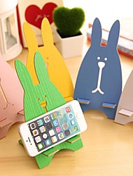 Cute Wood Rabbit Mobile Cell Phone Stand Holder Kids Birthday Wedding Return Gift(Random Color)
