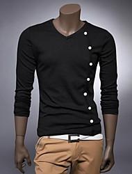 Männer langärmeliges T-Shirt, der großen Größe Mode Tasten-Design