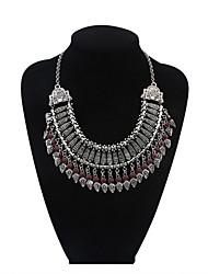 Women Luxurious Layers Geometric Tassel Coins Bib Statemtent Necklace