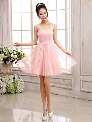 Knee-length Chiffon / Polyester Bridesmaid Dress A-line / Princess Straps
