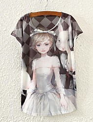 Damen Einfarbig T-shirt,Rundhalsausschnitt Sommer Kurzarm Weiß Dünn