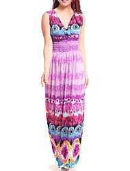Women's Beach / Plus Sizes Boho Swing Dress , V Neck Maxi Cotton Blends