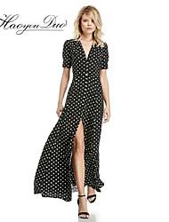 Haoyouduo Women's Sexy Deep V Neck Dot Print Maxi Dress