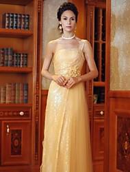 A-line One Shoulder Floor-length Organza Evening Dress