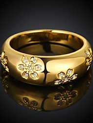 Fashion Flower Shape Environmental Protection Material Copper Rose Gold Foreign Trade Ring(3 color)(1Pc)