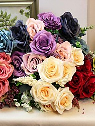Luxury French Style Artificial Silk Roses Bouquet Home Decorative Roses Flowers Wedding Decoration (More Colors)