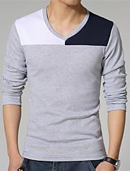 v hals lange mouw patchwork t-shirts voor mannen (meer kleuren)