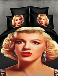 Shuian®Reactive Printing Bedding Set Duvet Cover Set Bed Linen Sheet Bedding