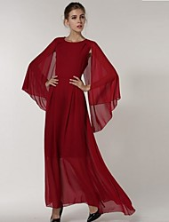 vestido de la manera del color sólido de la gasa maxi de las mujeres (más colores)