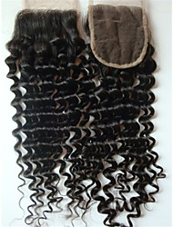 "18"" Brazilian Virgin Hair Curly Closure Pieces Lace Closure 4""x4"" Free Style 1Pc Natural Colour"