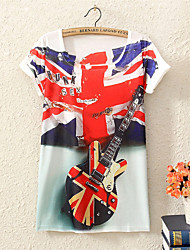 Women's Guitar Flag Print Big Yards Short Sleeve Long T-shirt
