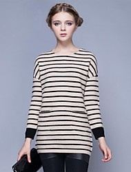 Freeshare 100% Cashmere Chic Women Sweater  Beige and Black Stripe Long  Thick Sweater of Elegant Style