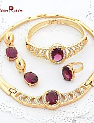 WesternRain Gold Plated Italian Purple Jewelry Set For Christmas Gift Crystal Necklace Bracelet Ring Earrings