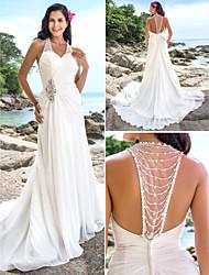 Tubinho Decote V Cauda Capela Chiffon Vestido de casamento com Miçangas Cruzado de LAN TING BRIDE®