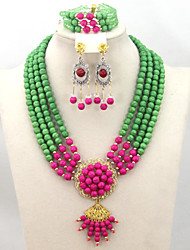 New Design Turquoise Beads Necklace Bracelet Earrings Set African Wedding Bridal Beads Set AC005