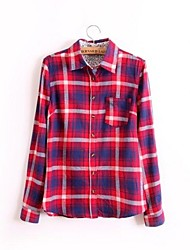 Spring 2015 Long Sleeve Plaid Lapel Collar Cotton Blouse Shirt for Women