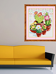 Diamond Needlework Plant Cactus Cross-stitch Suite of Chinese Cross Stitch Decoration Art Embroidered Paintings 31*35cm