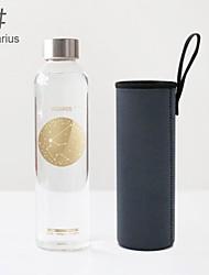 La mode 550ml douze constellations réfractaire bouteille d'eau en verre
