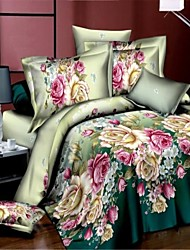 Shuian® Duvet Cover Set,3D 4pcs Flower Bedding Set Duvet Cover Bed Sheet Bedclothes Home Textile