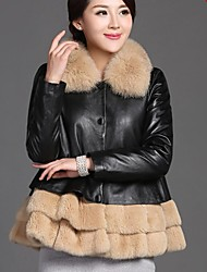 Women's Black Coat , Casual/Party Long Sleeve Sheepskin