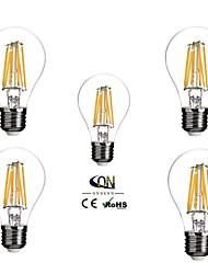 6W E26/E27 Ampoules à Filament LED A60(A19) 6 COB 600 lm Blanc Chaud Gradable AC 100-240 V 5 pièces