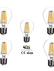 6W E26/E27 LED Glühlampen A60(A19) 6 COB 600 lm Warmes Weiß Dimmbar AC 100-240 V 5 Stück