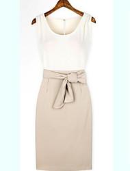 roabby Frauen europäischen einfarbig farbig sortiert taillierte runden Kragen Kleid