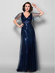 Lanting Bride® Fourreau / Colonne Grande Taille / Petite Robe de Mère de Mariée  Traîne Brosse Manches Courtes Tulle / Pailleté -