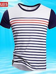 T-Shirts ( Blau/Weiss , Baumwolle ) - für Freizeit/Übergrößen - für MEN - Streifen - Kurzarm
