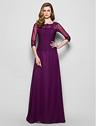 A-Line Jewel Neck Floor Length Chiffon Lace Mother of the Bride Dress with Beading Appliques Ruching by LAN TING BRIDE®