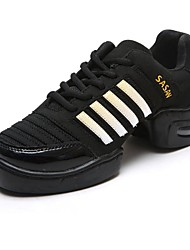 Women's Dance Shoes Dance Sneakers Leather Low Heel Black/Gray