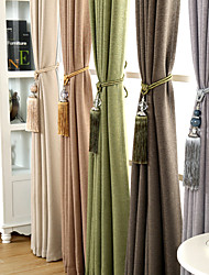 One Panel Room Darkening Simple Solid Color Faux Linen Curtain No Decorative Ball