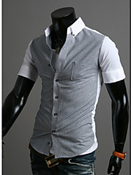 White Men's Fashion Contrast Color Causal Short Sleeve Shirt