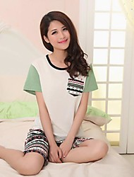 Women's Han Edition Knitting A Cotton Padded Covering Head With Short Sleeves Casual Wear Suits