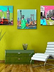 e-FOYER toile tendue art bâtiments célèbres en Europe peinture décoration ensemble de trois