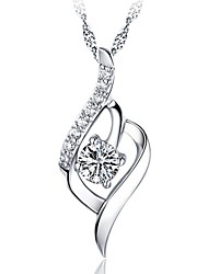 Fashion Shining Ladies' Silver Necklace with Clear Crystal