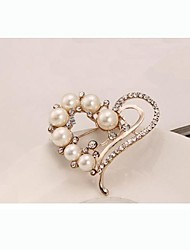 European Style Fashion Rhinestone Pearl Heart Brooch