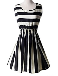 Women's Casual/Daily Skater Dress,Striped U Neck Above Knee Sleeveless Multi-color Summer