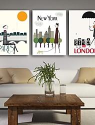Stretched Canvas Print Art City Lanscape Set of 3