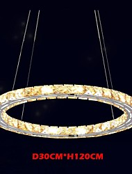 LED Crystal Pendant Lights Lighting Lamps Modern Fixtures Amber K9 Crystal Round Single Ring 30CM