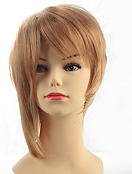 New Short Brown Yellow Straight Hair Wig
