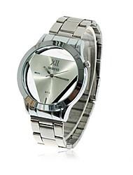 Men's Watch Fashion Transperant Triangular Dial Full Steel Atmosphere Dress Wrist Watch (Assorted Colors)